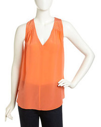 Orange Silk Sleeveless Top