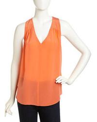 Rebecca Taylor Sleeveless Studded Chiffon Blouse Orange Blossom