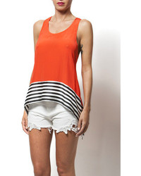 Aryn K Coral Tank With Contrast