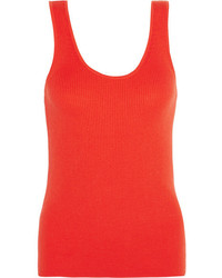 Miller ribbed cotton silk and cashmere blend tank orange medium 3660092