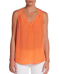 Rebecca taylor studded shoulder silk tank medium 81153