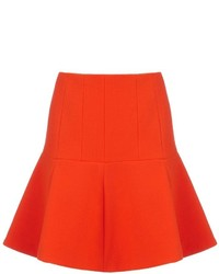 Carven Bright Orange Wool Skirt