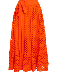 Tory Burch Hermosa Broderie Anglaise Cotton Wrap Skirt Orange