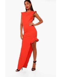 Boohoo Louisa Frill High Split Maxi Dress