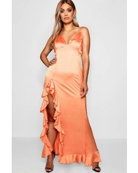 Boohoo Plus Nat High Split Ruffle Satin Maxi Dress