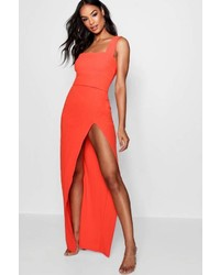 Boohoo Tall Fiona Square Neck Side Split Maxi Dress