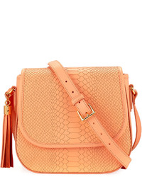 GiGi New York Kelly Snake Embossed Saddle Bag Orange