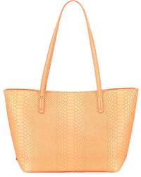 GiGi New York Taylor Snake Embossed Mini Tote Bag Orange