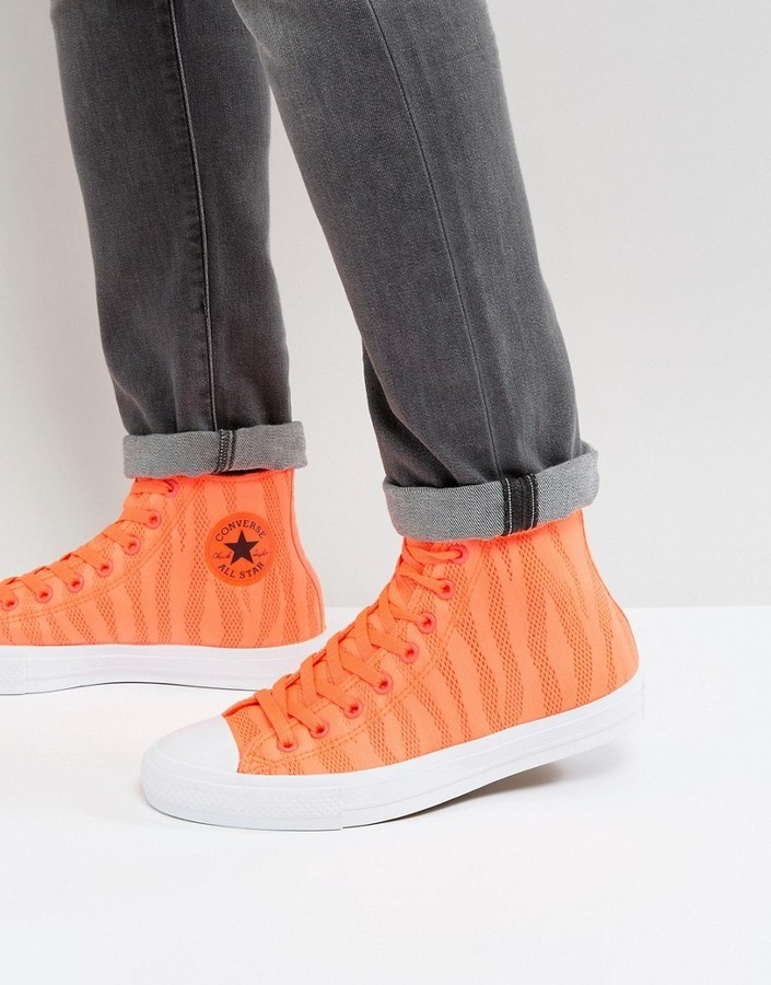 12732287a ... Converse Chuck Taylor All Star Ii Hi Sneakers In Orange Knit 155492c ...