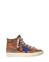 Golden Goose Deluxe Brand Francy Zebra Canvas High Top Sneakers