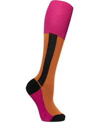 Marni Color Block Cotton Blend Socks Orange
