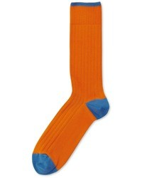 Charles Tyrwhitt Orange Plain Cotton Rib Socks