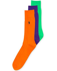 Ralph Lauren Solid Cotton Ribbed Crew Socks 3 Pack