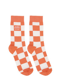 Opening Ceremony White And Pink Check Box Logo Socks