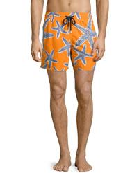 Vilebrequin Moorea Starlets Starfish Print Swim Trunks Orange