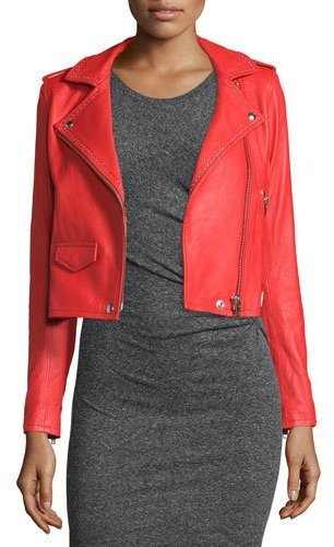 IRO Studded Leather Moto Jacket Blood Orange