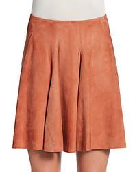 Brunello Cucinelli Suede A Line Flare Skirt