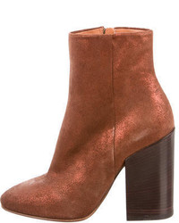 Dries Van Noten Glitter Accented Suede Ankle Boots