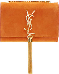Saint Laurent Orange Suede Small Monogram Bag