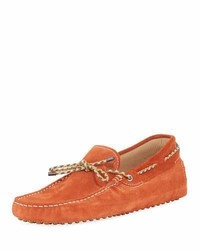Tod's Gommini Suede Driver With Braided Tie Orange