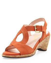 Orange Suede Heeled Sandals
