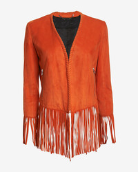 Suede fringe jacket orange medium 196125