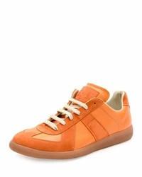 Orange Suede Low Top Sneakers