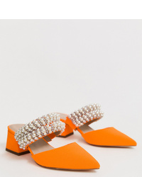 ASOS DESIGN Wide Fit Wings Pearl Embellished Block Heeled Mules In Neon Orange