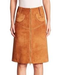 Derek Lam Suede Buckle Pencil Skirt