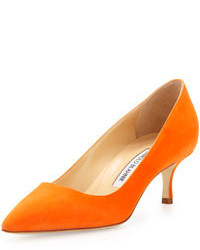 Manolo Blahnik Bb Suede 50mm Pump Orange