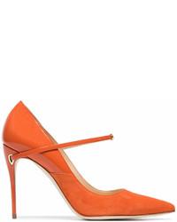 Jennifer Chamandi Orange Lorenzo 105 Leather Suede Pumps
