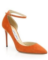 Jimmy Choo Lucy 100 Suede Ankle Strap Pumps