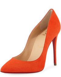 Christian Louboutin Pigalle Follies Suede Point Toe Red Sole Pump
