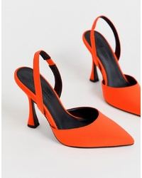 ASOS DESIGN Pitcher Sling Back Heels In Neon Orange