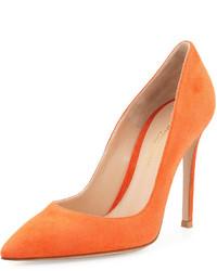 Gianvito Rossi Suede Pointed Toe 105mm Pump Orange