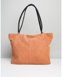 Asos Suede Shopper Bag With Wrap Handle