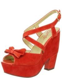Orange Suede Wedge Sandals