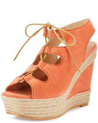 Andre Assous Gilly Lace Up Suede Wedge Sandal Coral