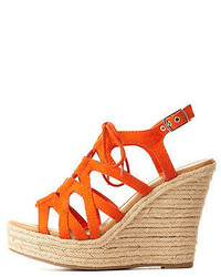 Charlotte Russe Strappy Lace Up Wedge Sandals