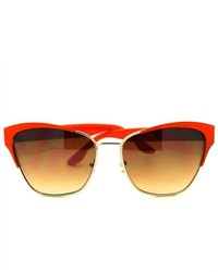 106Shades Cat Eye Style Club Master Half Rim Wayfarer Sunglasses Orange