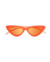 Le Specs Adam Selman The Last Lolita Cat Eye Neon Acetate Mirrored Sunglasses