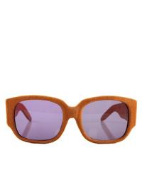 Linda Farrow X Alexander Wang Alexander Wang Terracotta Suede Rectangle Sunglasses