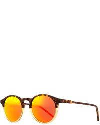Kyme Miki Round Pantos Mirror Sunglasses Tortoiseorange