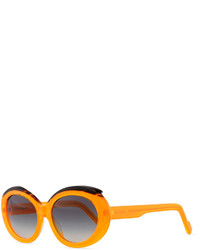 Courreges Plastic Oval Sunglasses With Curved Brow Orangeblack