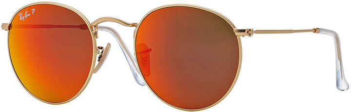 1b484b4a031 ... italy ray ban ray ban polarized round metal frame sunglasses with  orange mirror lens 670ff 491f2