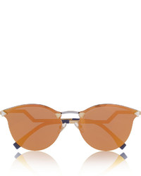 Fendi Round Frame Crystal Embellished Metal Mirrored Sunglasses
