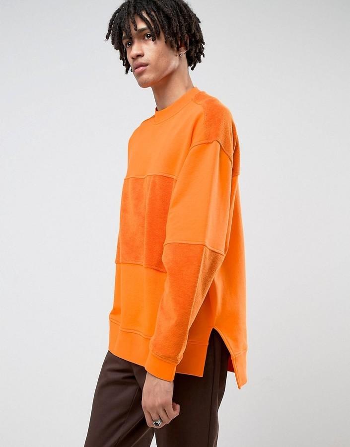 f7a0ce3e569 ... Sweaters Asos Oversized Longline Sweatshirt With Towelling Cut Sew ...