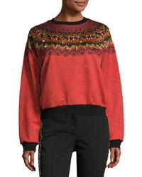 Etro Jewel Embellished Geometric Crewneck Sweatshirt Orange