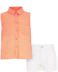 River Island Girls Orange Gingham Shirt And Shorts Outfit