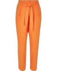 River Island Orange Soft Tie Waist Tapered Pants